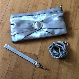 NWOT silver satin rhinestone clutch
